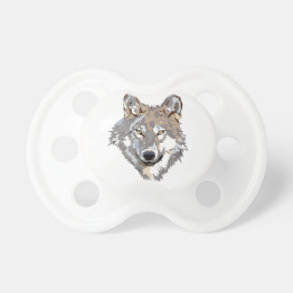 Head wolf - wolf illustration - american wolf pacifier