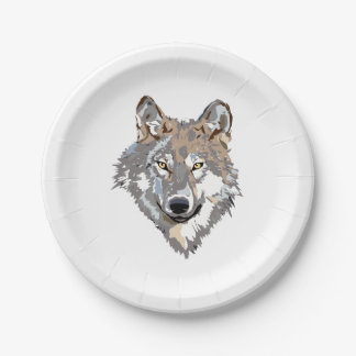Head wolf - wolf illustration - american wolf paper plate