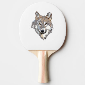 Head wolf - wolf illustration - american wolf ping pong paddle