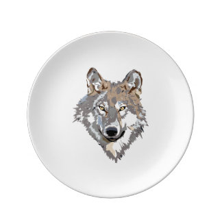 Head wolf - wolf illustration - american wolf plate