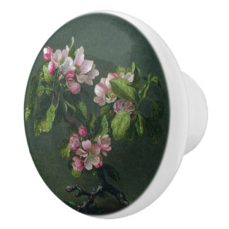 Heade Apple Blossom Flowers Leaves Painting Knob