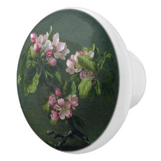 Heade Apple Blossom Flowers Leaves Painting Knob Ceramic Knob