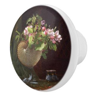 Heade Apple Blossom Flowers Shell Painting Knob Ceramic Knob
