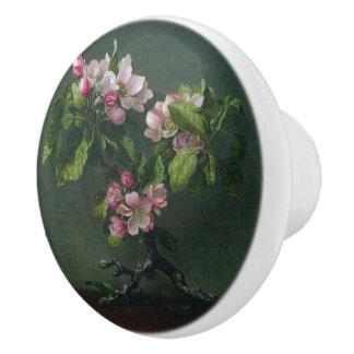 Heade Apple Blossoms Flower Sprig Knob Ceramic Knob