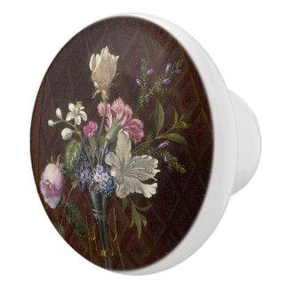 Heade Elegant Flowers Vase Painting Knob