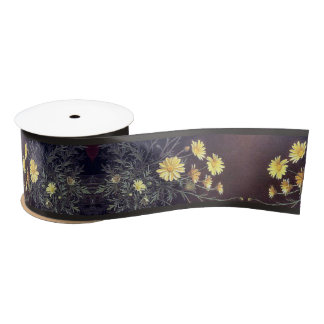 Heade Garden Daisy Flowers Floral Trim Ribbon Satin Ribbon