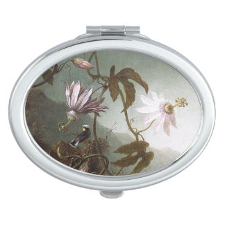 Heade Hummingbird Bird Flowers Compact Mirror