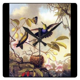 Heade Hummingbird Birds Butterfly Flower Clock