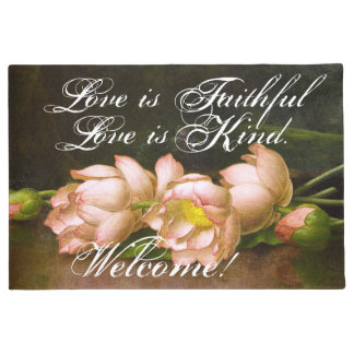 Heade Lotus Flowers Love Faithful Welcome Doormat