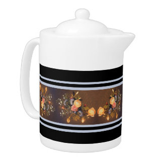 Heade Roses Flowers Stripes Teapot
