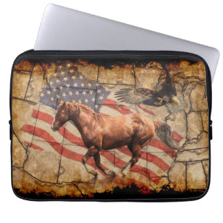 """""""Heading West"""" Horse, Eagle and US Flag Computer Sleeves"""