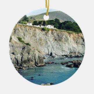 Headlands Northern California Oceanside Round Ceramic Ornament
