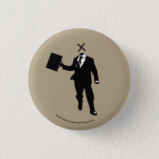 headless businessman 1 inch round button