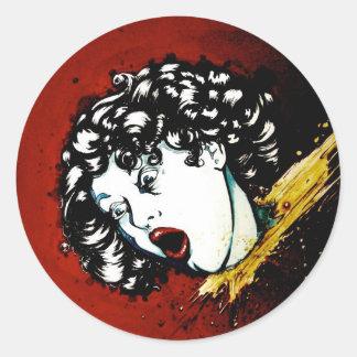 headless classic round sticker