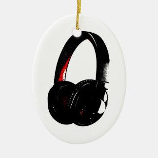 Headphone Pop Art Head Phone Ceramic Oval Ornament