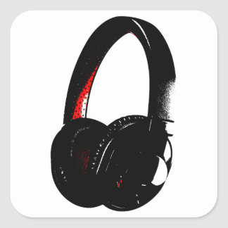 Headphone Pop Art Head Phone Square Sticker