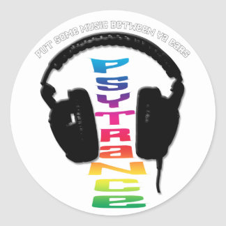 headphone-psytrance classic round sticker