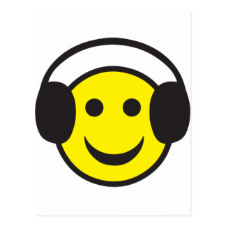 Headphone Smiley Face Rave Postcard