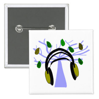 Headphone & Tree of Life Design 2 Inch Square Button