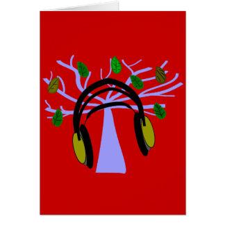 Headphone & Tree of Life Design Greeting Card