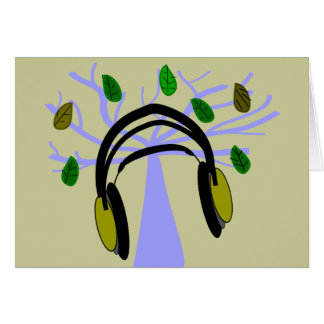Headphone & Tree of Life Design Greeting Card