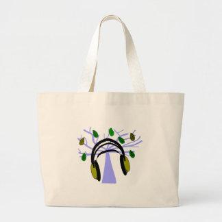 Headphone & Tree of Life Design Jumbo Tote Bag