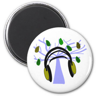 Headphone & Tree of Life Design 2 Inch Round Magnet