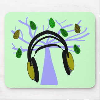 Headphone & Tree of Life Design Mouse Pad