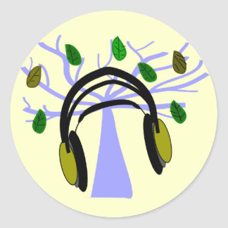 Headphone & Tree of Life Design Round Sticker
