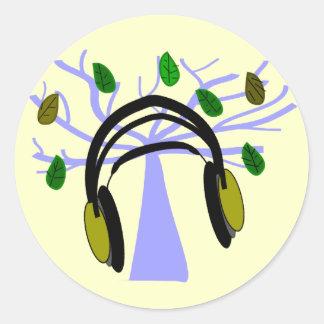 Headphone & Tree of Life Design Classic Round Sticker
