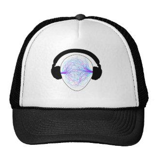 headphones blue purple- black tschirt trucker hat