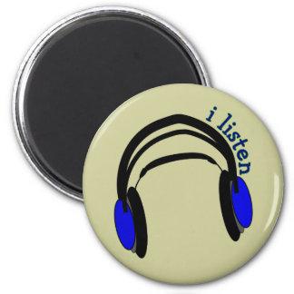 "Headphones design, ""I Listen"" 2 Inch Round Magnet"