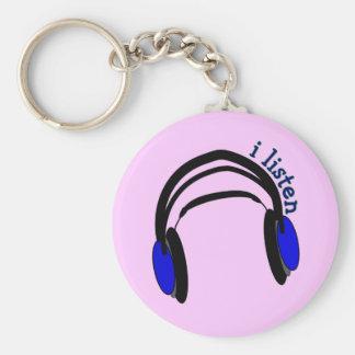 """Headphones design, """"I Listen"""" Basic Round Button Keychain"""