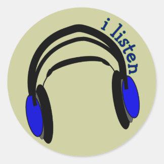 "Headphones design, ""I Listen"" Classic Round Sticker"