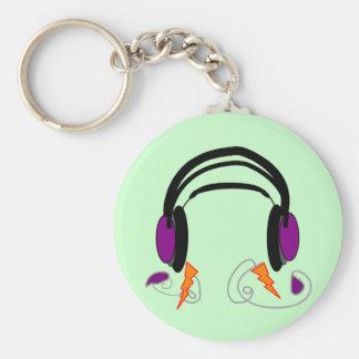 Headphones Design--Music Lovers Basic Round Button Keychain