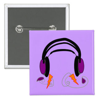 Headphones Design--Music Lovers 2 Inch Square Button