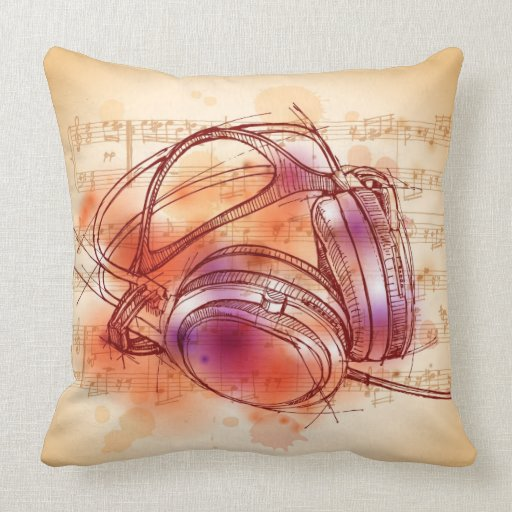 Headphones on a watercolor background & notes pillows