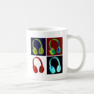 Headphones Pop Art Basic White Mug