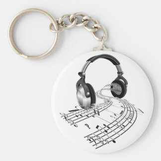 Headphones sheet music notes concept keychain