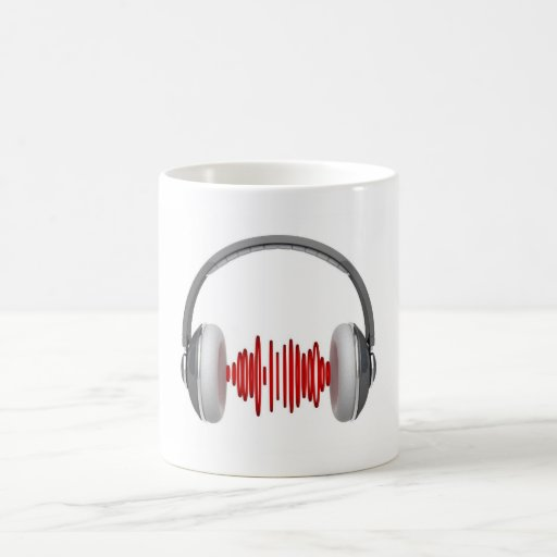 Headphones with sound waves coffee mugs