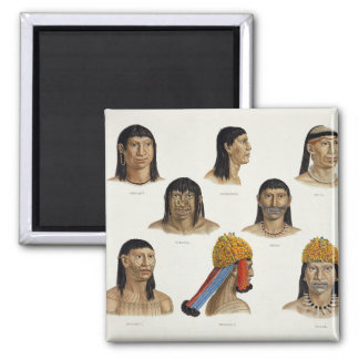 Heads of South American Indians, from 'Travels in Magnet