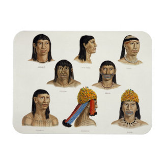 Heads of South American Indians, from 'Travels in Rectangular Photo Magnet
