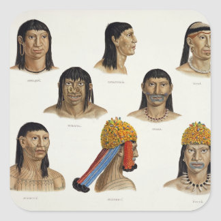 Heads of South American Indians, from 'Travels in Square Sticker
