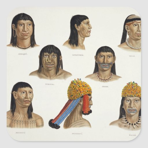 Heads of South American Indians, from 'Travels in Square Stickers