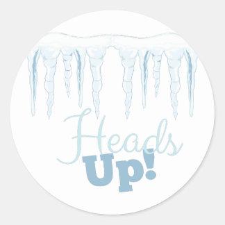 Heads Up Round Sticker