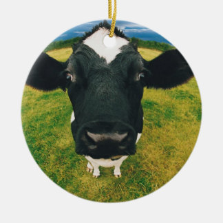 Headshot of Friesian Cow Round Ceramic Ornament