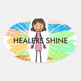 """HEALERS SHINE"" Oval Stickers"