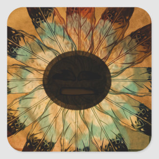 Healing Feather Sun Square Sticker