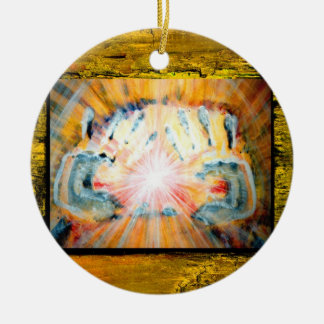 Healing Hands & Cross of Protection Round Ceramic Ornament