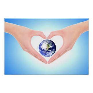 Healing hands embracing earth by healing love print